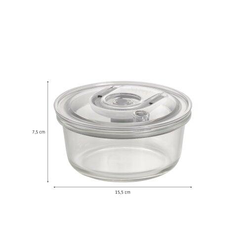 CASO VacuBoxx Set rund - 4er Set Design Vakuumbehälter aus Glas mit Tritan Deckel