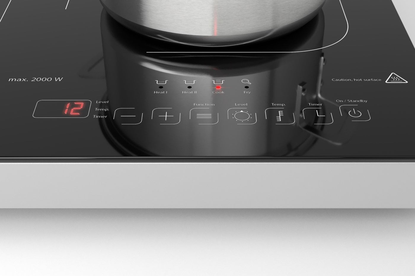 60-240 /°C vitroc/éramique CASO Touch 3500 Plaque /à induction double mobile minuterie 180 min 6 niveaux interrupteur de s/écurit/é casseroles jusqu/à 26 cm 3500 W
