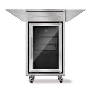 Barbecue - Counter & Cool Stainless steel trolley with side shelves, drawer and barbecue cooler