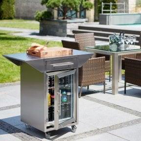 CASO Barbecue - Counter & Cool Rollwagen mit Seitenablagen, Schublade und Barbecue Cooler
