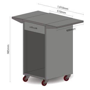 CASO Umbauschrank für Barbecue Cooler Rollwagen mit Seitenablagen und Schublade