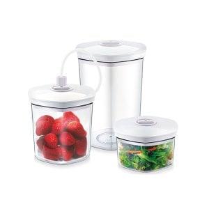 CASO Vakuumbehälter Set, 3 teilig Für druckempfindliche und flüssige Lebensmittel