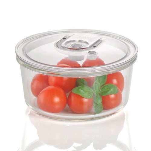 CASO vacuum freshness container round - 1700 ml High quality glass design vacuum containers with tritan lid
