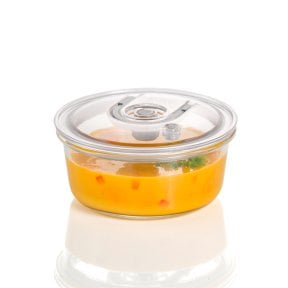 CASO vacuum freshness container round - 940 ml High quality glass design vacuum containers with tritan lid