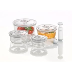 CASO vacuum freshness container round - set of 4 High quality glass design vacuum containers with tritan lid