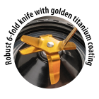 Robust 6-blade cutter with golden titanium coating